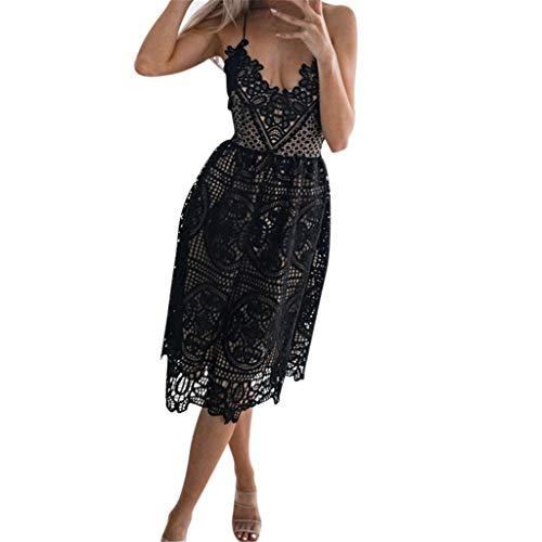 Women's Backless Halter Dress Sleeveless Wedding Halter Lace Cocktail Dress(Black,L)