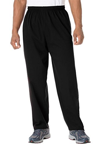 Kingsize Men's Big & Tall Cotton Jersey Open-Bottom Pants, Black (Big Tall Mens Pants)
