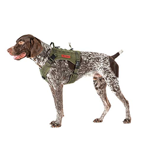 - OneTigris Tactical Service Dog Vest - Water-Resistant Comfortable Military Patrol K9 Dog Harness with Handle (Medium, Ranger Green)