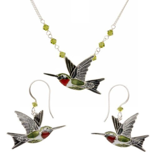 Cloisonne Ruby Throat Hummingbird Earring Necklace Set
