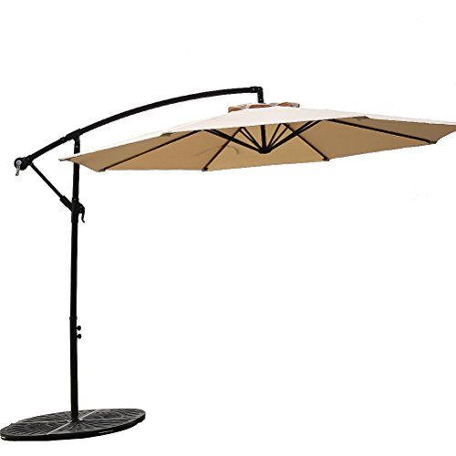 FLAME&SHADE 10FT Offset Cantilever Patio Umbrella, Hanging Outdoor Parasol with Crank Lift, Large Round, Beige