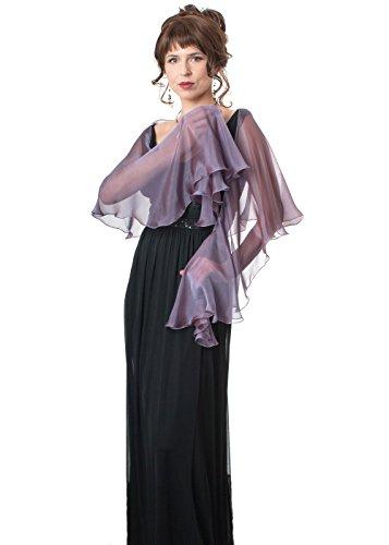 Amethyst Mauve Evening Wedding Silk Chiffon Fluttering Scarf Wrap Shawl by Lena Moro