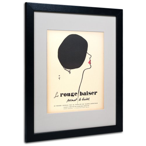 Apple Collection - Trademark Fine Art Le Rouge Baiser Artwork by Vintage Apple Collection, Black Frame, 16 by 20-Inch