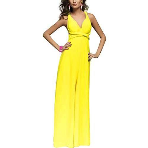 Women Transformer Infinity Evening Dress Multi-Way Wrap Convertible Halter Maxi Floor Long Dress High (Yellow Halter Gown)