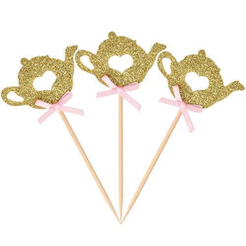 Donoter 36 Pcs Golden Glitter Teapot Cupcake Topper Picks for Bridal Shower Tea Party Decorations]()