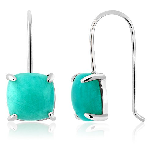 Amazonite Jewelry (8.75 Ct 925 Sterling Silver Cabochon Square Amazonite Earrings)