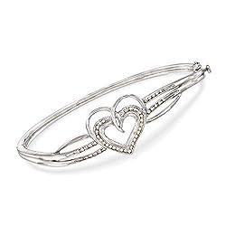 Diamond Heart Bangle Bracelet in Sterling Silver