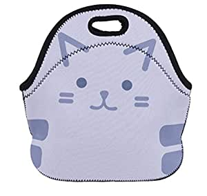 Cat tiger kitten meow animal time foldable 29x26cm neoprene thermal Lunch Bag base 14x28cm with zipper