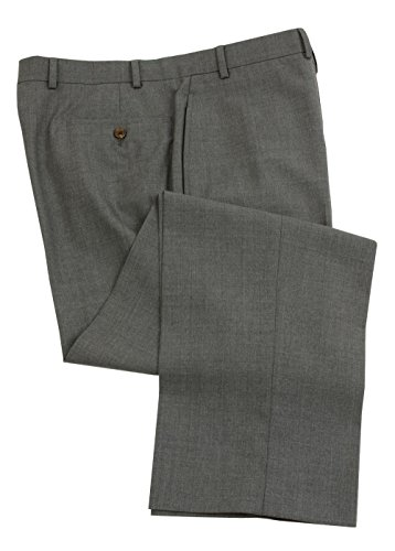 Gray Wool Dress Pants (Ralph Lauren Mens Double Pleated Medium Gray Wool Dress Pants - Size 34 x32)