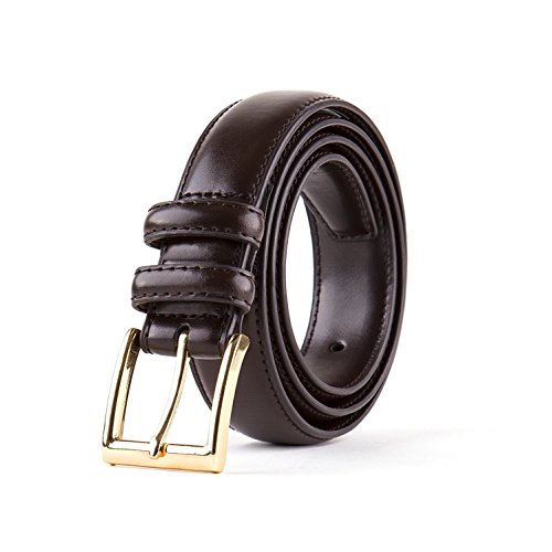 Men's Classic Stitched Leather Belt - Brown Belt With Gold Buckle (38) Single Pack (Mens Leather Buckle Dress Belt)