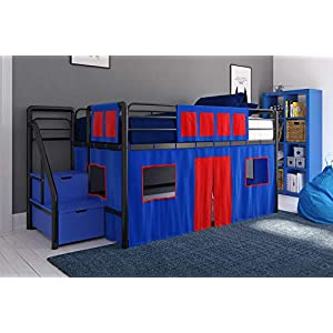 DHP Curtain Set for Kid's Loft Bed, Washable and Removable, Blue and Red 8