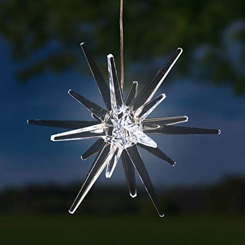 (Exhart Solar Star Garden Light-  Star Lantern Hanging Ornament w/ Solar Panel, Acrylic Outdoor Crystal Décor, Garden Décor, or Christmas Decorations)
