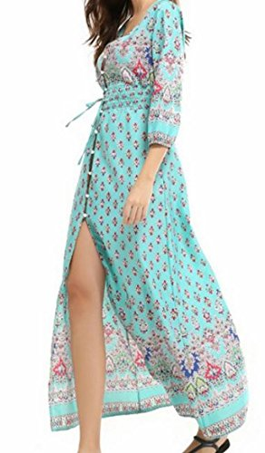 Coolred Femmes Boho Cru Confortable Fendu Floral Grand Ourlet Longue Robe Maxi Comme Image