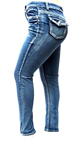 30' Inseam Denim (MI JEANS J&K Women's Plus Size Acid Wash Blue Stretch High Waist Denim Skinny (24))
