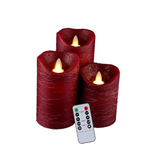 (Luminara Flameless Candles,Red Flameless Candles,Flameless Candles Flickering,Wine Red Water Ripple Matte Candle Light,Set of 4 5