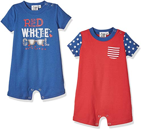 Silly Apples Baby Boys Outfit 2-Pack Short-Sleeve American Flag Stars Romper Onesies (24M)