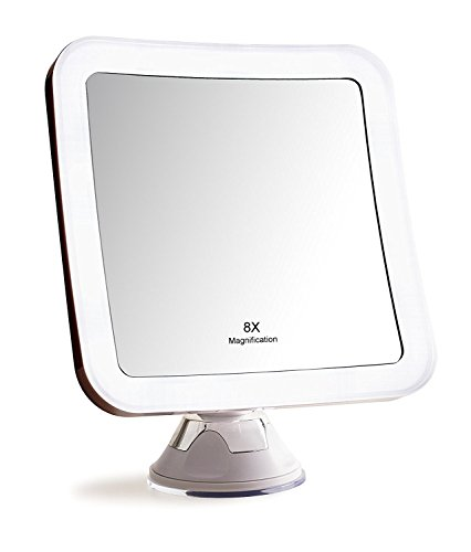 8x Magnification LED Makeup Mirror with Adjustable Arm/Tilt Head, Advanced Suction cup, Perfect for Makeup, Exfoliating, Bathroom, Dressing Room, Face Washing, Tweezing, Personal Use or ()