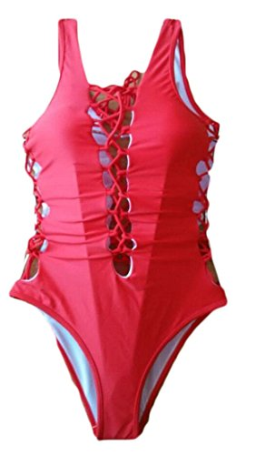 less Sleeveless Lace up Triangle Beach V-Neck Quick Dry One Piece Swimsuit Red s ()