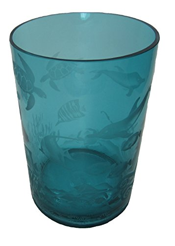 IncisoArt Hand Etched Glass Vase Permanently Sandblasted (Sand Carved) Handmade Engraved Tabletop Centerpiece (Round 8 Inch x 5 Inch, Teal Aquatic Animal Ocean Sea Life Combo) by IncisoArt