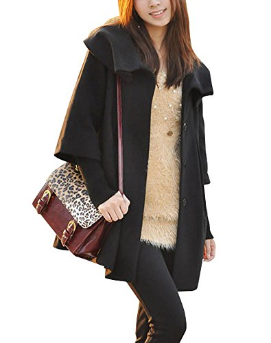 Melansay Women's Princess Wool Winter Coat With Detachable Knit Sleeves M,Black