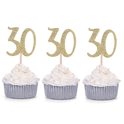 24 Pack Number 30 Gold Glitter 30th Birthday Cupcake Toppers Celebrating Party Decors By Giuffi