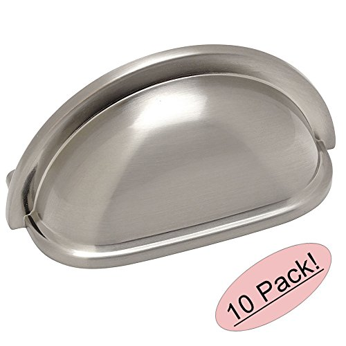 Nickel Cup Pull - 10 Pack - Cosmas 4310SN Satin Nickel Cabinet Hardware Bin Cup Drawer Handle Pull - 3