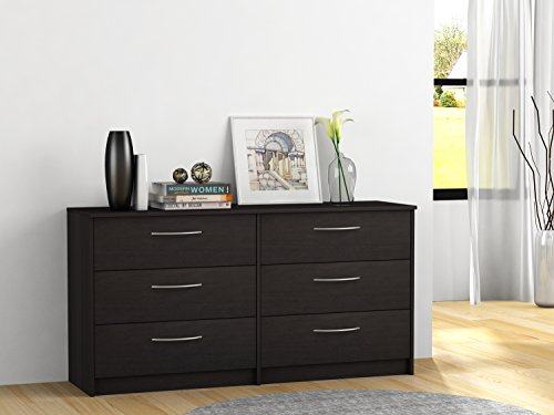 Alder Bedroom Dresser - Elegant 6-Drawer Dresser with Metal Ball Bearing Slides, Sturdy and Long Lasting Engineered Wood, Metal Handles with Brushed Nickel Finish, Available in Espresso, Bank Alder and Walnut Laminate