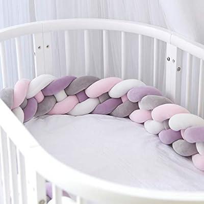 Gris Trenza chichonera para bordes de cama Almohada trenzada con nudos Coj/ín trenzado de 200 CM Navaris Protector para cuna de beb/é