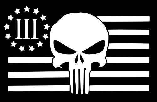 UR Impressions MWht American Flag 3 Percenter Punisher Decal Vinyl Sticker Graphics Car Truck SUV Van Wall Window Laptop|Matte White|7.4 X 4.5 Inch|URI175-MW