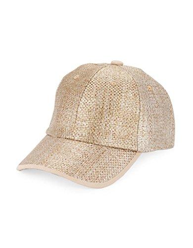 (Collection XIIX Women's Metallic Straw Baseball Cap, Bronze (One Size))