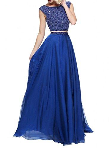 Abschlussballkleider Abendkleider Pink teilig Zwei Royal La Jugendweihe Marie Wunderschoen Blau Kleider Braut Chiffon Oa68WOqZUw
