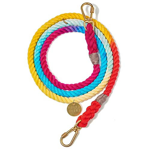Found My Animal Rainbow Ombre Cotton Rope Dog Leash, Adjustable Medium