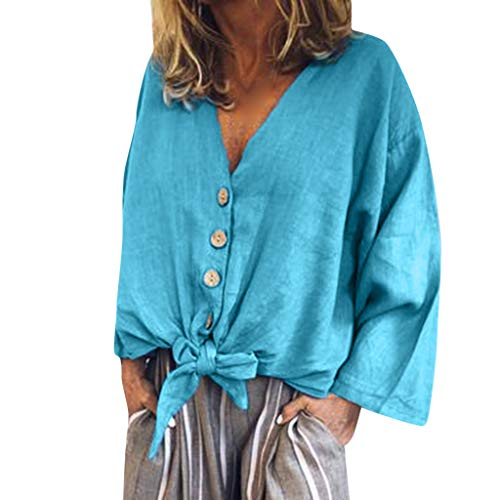 TOOPOOT 2019 New Tops for Womens, Ladies Vneck T-Shirt Solid Sleeve Buckle Blouse Tops Blue