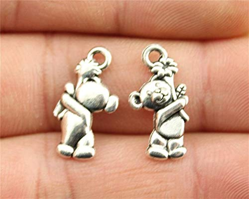 (15 Teddy Bear Charms, Antique Silver Tone (1J-167))