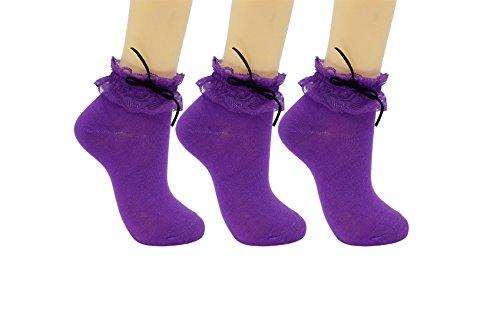 SRYL Women Lace Ruffle Frilly Ankle Socks Fashion Ladies Girl Princess YYS02 (purple) (Purple Ruffle)