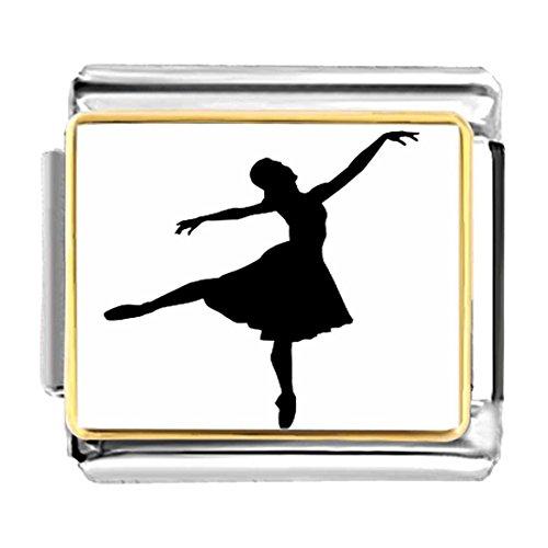 GiftJewelryShop Gold Plated Dance themes Ballet Dancer charm Bracelet Link Photo Italian Charm Bracelets
