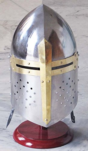 Medieval-Sugarloaf-Crusader-Helmet-18g-Knight-039-s-Helm-Sugar-Loaf-Leather by brass gift - Sugarloaf Store