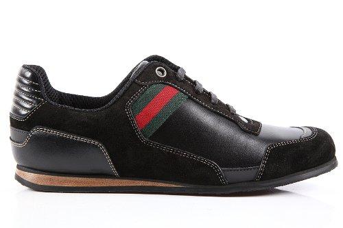 Gucci scarpe sneakers donna in pelle nuove nero  Amazon.it  Scarpe e ... b4bc9ea31f21