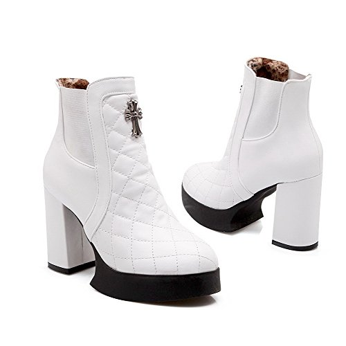 Allhqfashion Women's Pull On High Heels Pu Solid Low Top Boots White fIqB4XE