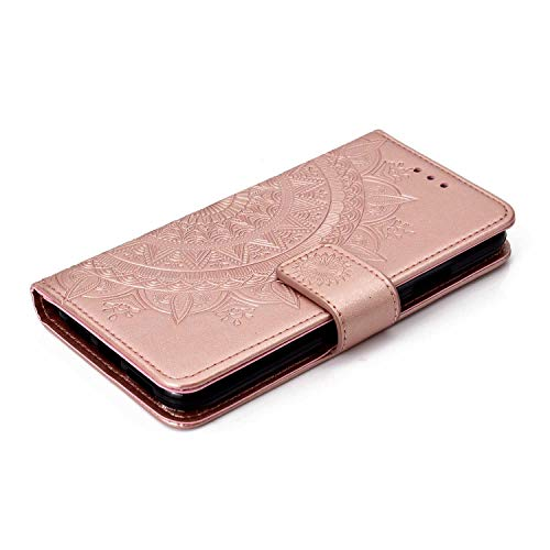 Case iPhone XR, Bear Village PU Leather Embossed Design Case with Card Holder and ID Slot, Wallet Flip Stand Cover for Apple iPhone XR (#1 Rose Gold) by Bear Village (Image #4)