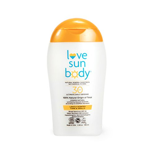 Love Sun Body 100% Natural Mineral Sunscreen SPF 30 Lightly Scented 100 ml Reef-Safe with Non-Nano Zinc Oxide for Face and Body, Chemical-Free, Moisturizing, Water-Resistant