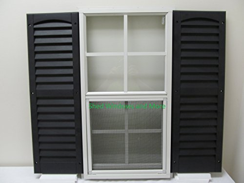 Shed Window with Blue Shutters 14 X 27 White J-Channel Safety Glass Playhouse Window by Shed Windows and More (Image #4)