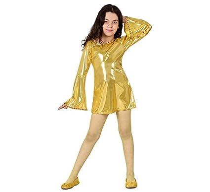 Disfraz de Disco dorado brillante para niña: Amazon.es ...
