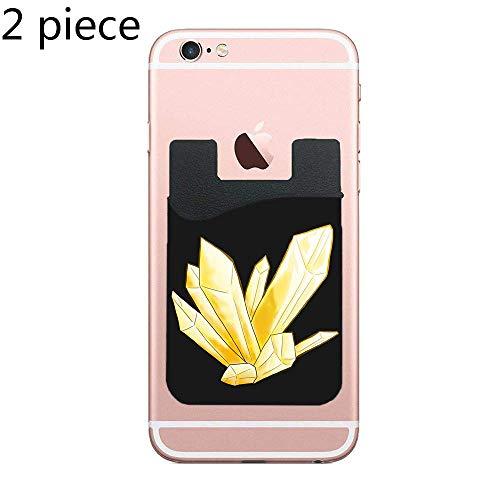 Citrine Frog - TysoOLDPhoneC Citrine Cell Phone Stick On Wallet Card Holder Phone Pocket for All Smartphones - Black - 2 Piece