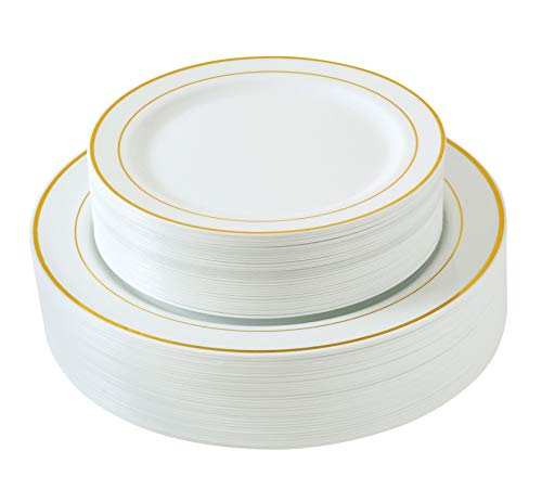 Select Settings [60 COUNT] White with Gold Trim Plastic Plates: 30 Dinner Plates and 30 Salad Plates