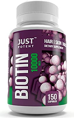 Biotin Supplement by Just Potent :: 10,000 MCG :: Hair Growth Support For Longer, Healthier, and Luscious Hair :: Radiant Skin :: Stronger, Longer, and Healthier Nails :: 150 Capsules : 5-Month Supply