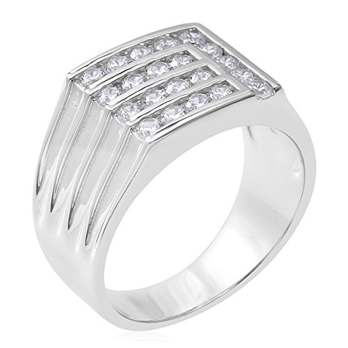 925 Sterling Silver 0.7 Cttw Round Cubic Zirconia Men's Fathers Day Gift Ring Size 10 by Shop LC (Image #2)