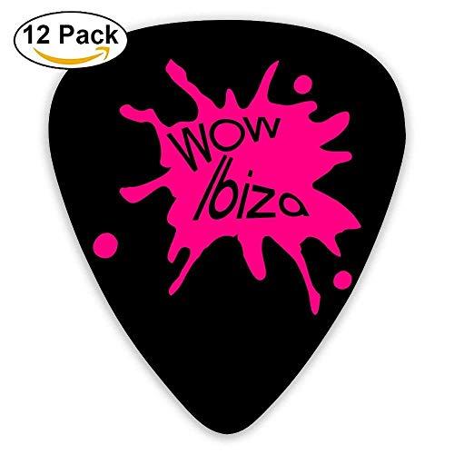 Celluloid Guitar Picks Acoustic Guitar Plectrums,Print Wow Ibiza,12 Pack ()