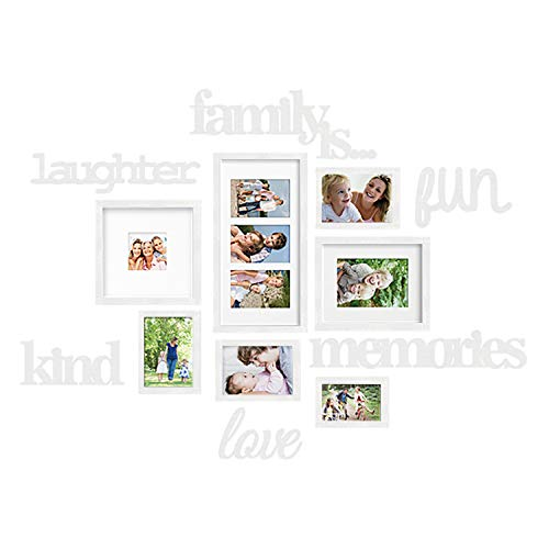 (Jerry & Maggie - Photo Frame | Plaque College Frame - White Wall Decoration Combination - Bronze PVC Picture Frame Selfie Gallery Collage with Full Size Hanging Template & Wall Mounting Design)