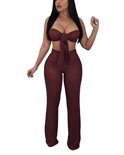 Ekaliy Women Sexy 2 Piece Off Shoulder Halter Sleeveless Long Pants Club Party Outfits Red Medium